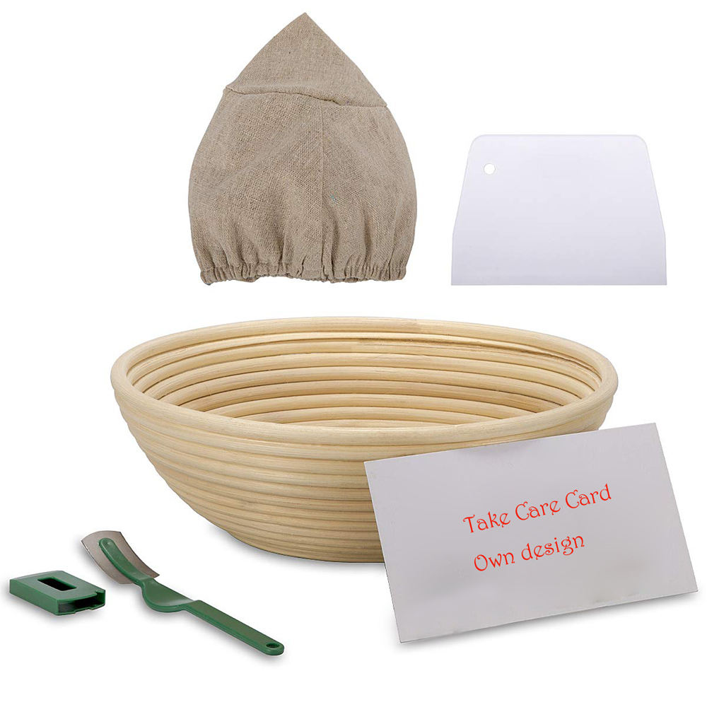 Banneton Proofing Basket Round Sourdough Proofing Basket Set with Cloth Liner Dough Scraper Silicone Brush Natural Rattan Brotform Bread Basket for Professional /& Home Bakers,1 pack 5 inch