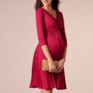 Fashion Cotton Pregnancy Women Striped Nursing Dress Long Summer Maternity Dresses Clothing Office Breastfeeding Nursing Dress