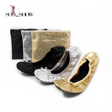 Womens Sequined Rollable Ballerinas Wedding Slip On Ballet Flats