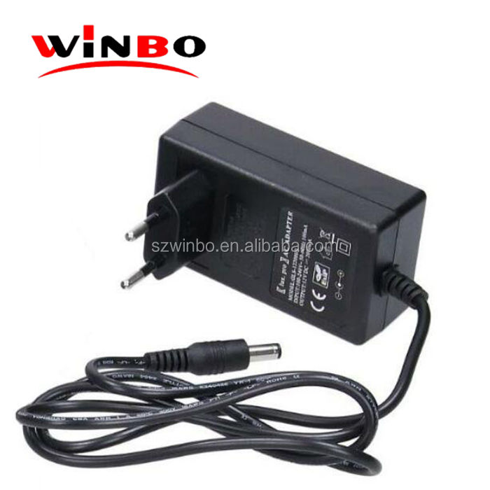 AU EU US UK plug black ac dc 24w 12v 30v 2a dve power adapter for mobile device for cctv camera and neon light