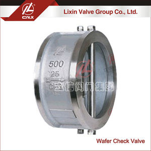 DN500 CF8 butterfly wafer double disc check valve for gas