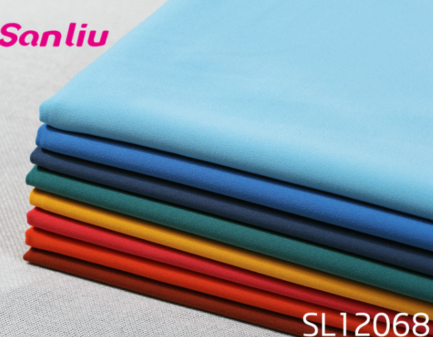 Spring and autumn woven dyed polyester spandex classical color suit female trousers fabric