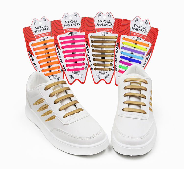 14Pcs Easy Shoelaces Elastic Silicone Flat Lazy Shoe Lace Set For Kids Adult Top