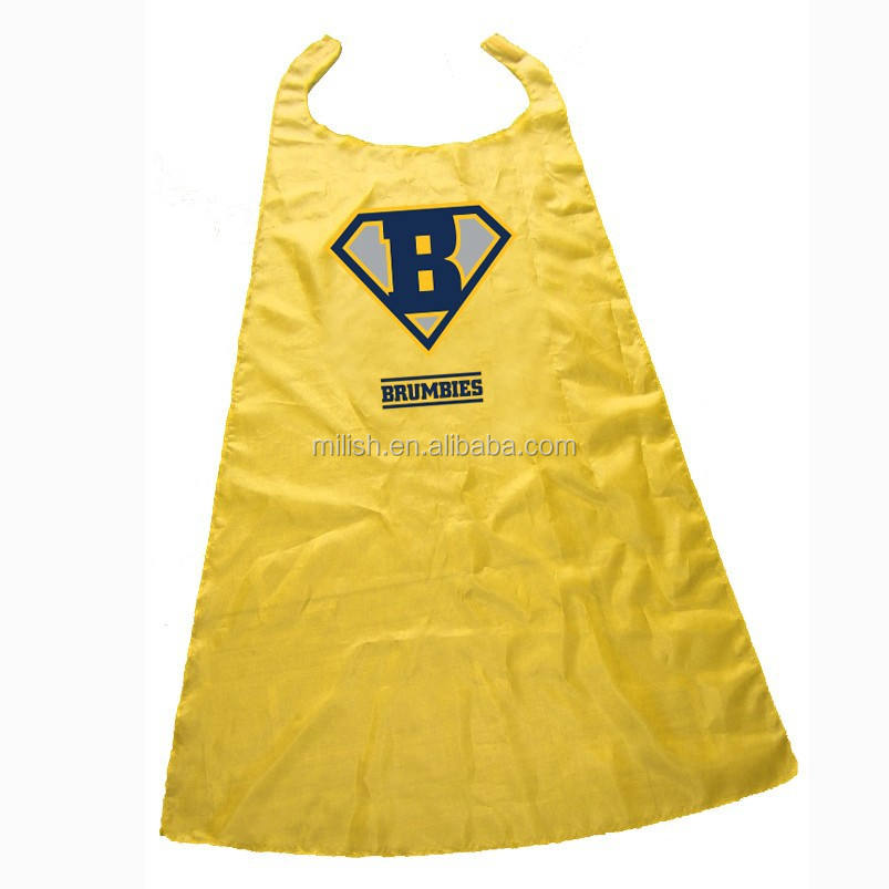 CAPE-0099 Party Halloween erwachsene Individuelles logo gelb superhero cape/kostüme satin cape für kinder