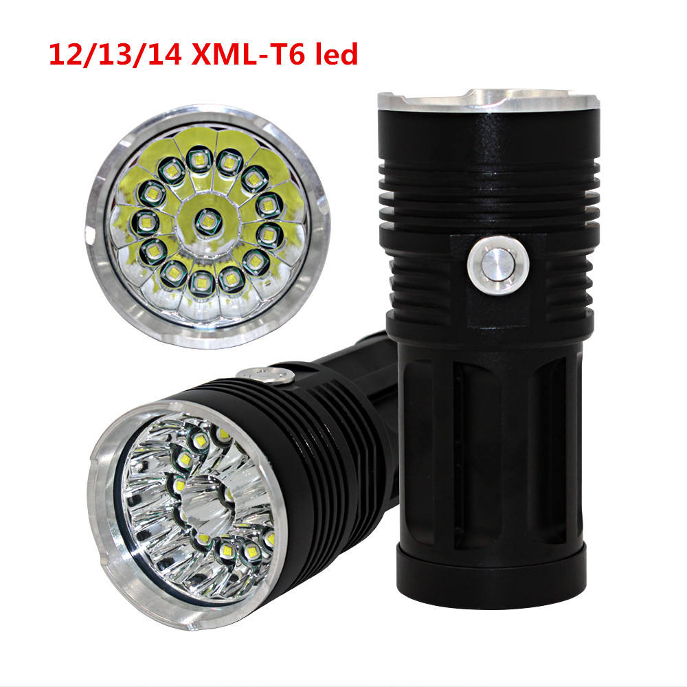 Brightness 12000 Lumens 12pcs XML T6 LED Camping flashlight with 4pcs rechargeable 18650 batteries