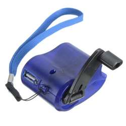 Blue Green Black Hand Crank Dynamo Emergency USB Travel Charger