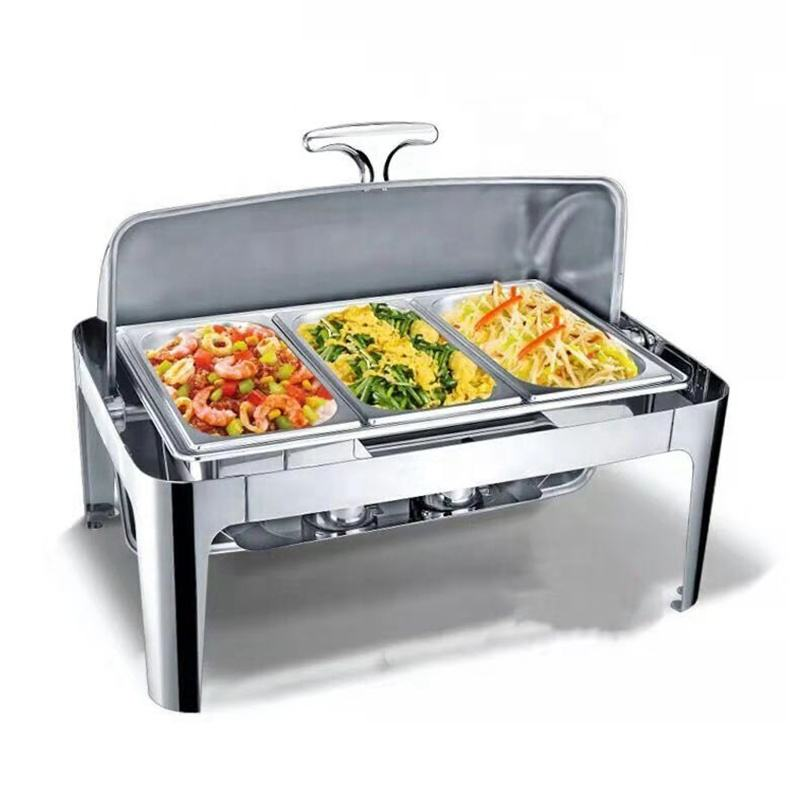 9L Square Stainless Steel Hotel Food Warner Display Buffet Roll Top Chafing Dish