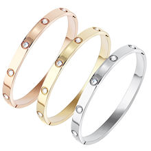 2020 Ladies Crystal Stone Cuff Stainless Steel Jewelry Engraved Screw Bracelet Bangle