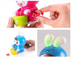 high quality toy candy flash music drum rabbit animals wind-up toy