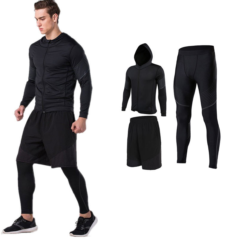 Jogging Suit Men's Compression Leggings, Short Pants, Hoodies Fitness Set