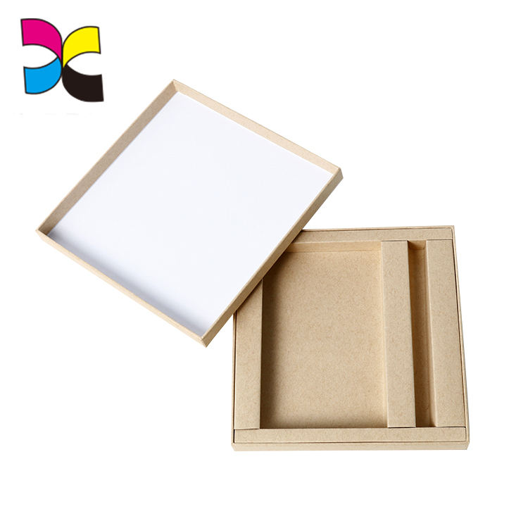 Custom no logo printing kraft paper made rigid lid and base box printing with a paper tray inside