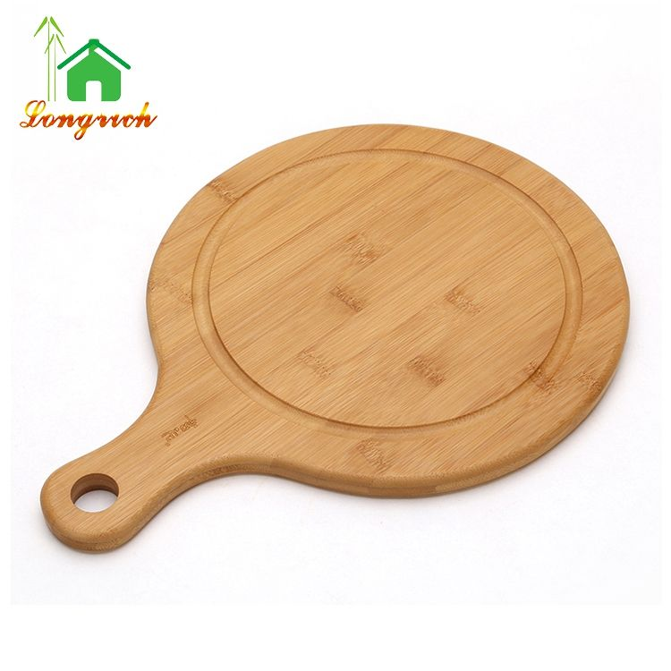 Customized cheap bamboo round pizza paddle platter food serving chopping board with handle