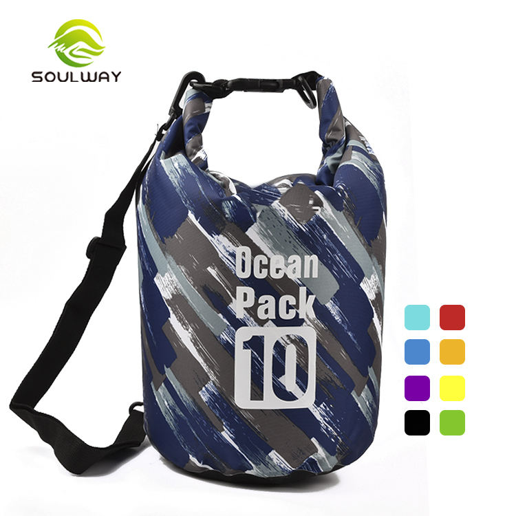 Colorful traveling lightweight custom wet polyester nylon outdoor 10L dry bag military