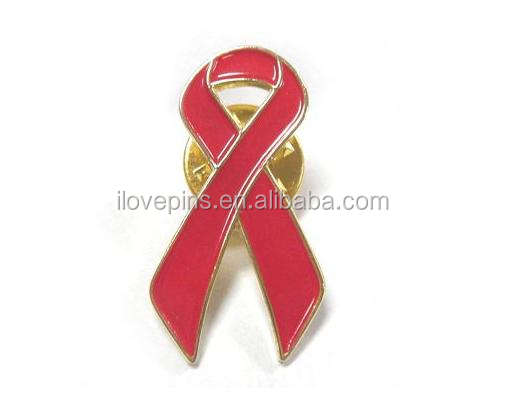 Custom AIDS & HIV awareness red ribbon lapel pin badge for charity