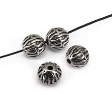 S1100 10mm Fashion antique silver stainless steel round ball beads jewelry findings