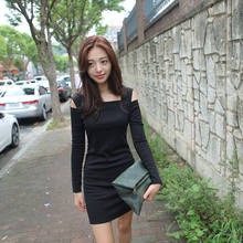 Korean Fashion Women Dress Open Shoulder Square Neck Long Sleeve Sexy Slim Party Mini Dress