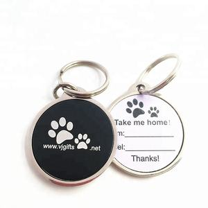 Hot sales metal custom emaille stickers qr code dog id tags met 15mm sleutelhanger