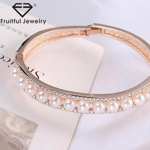 Adjustable Sweet Lovely Pearl Diamond Rose Gold Plating Alloy Bangle Bracelet