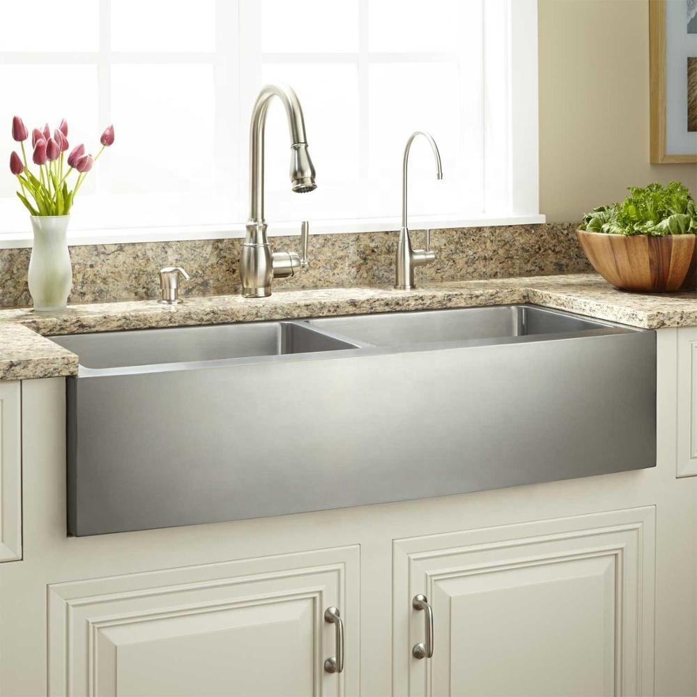 389311 Optimum Stainless Steel Undermount Apron Front Double Bowl Curved Handmade Farmhouse Kitchen Sink