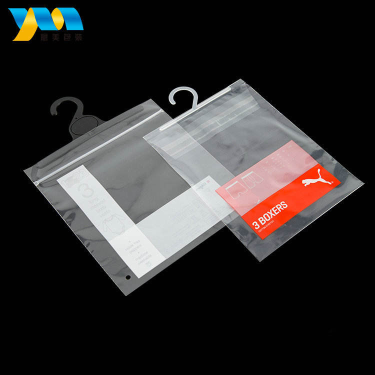 China factory custom printed cheap clear plastic garment bags with hanger apparel packaging with hook