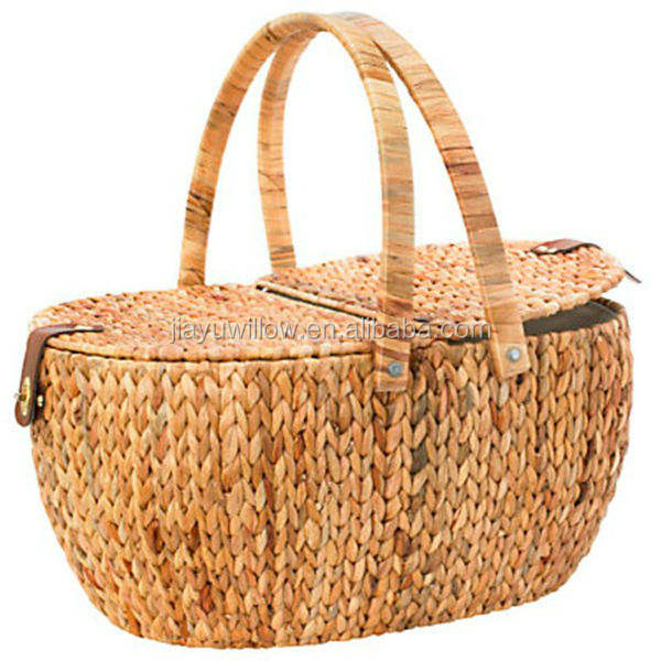 HOT 100%handmade wicker picnic basket with lid