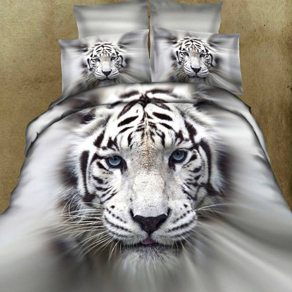 Home Lifelike Reactive Dyeing White Tiger 100% Cotton Bed Comforter Set , Bed Sheets , 3D Bedding Set