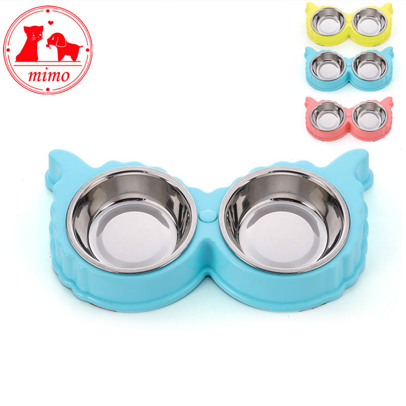 Double Pet Dog Plate Bowls Stainless Steel Double Eating Bowls Food Water Feeder for Dog Puppy Cats Pets Supplies Feeding Dishes