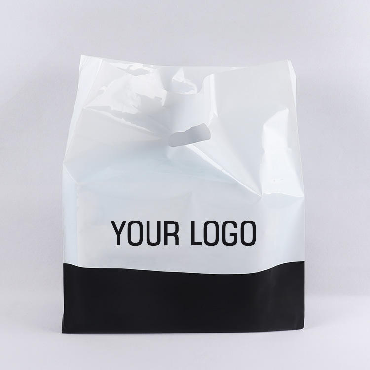 customised personality designs logo hdpe carrier patch loop handle shopping polythene plastic packaging bag for garment