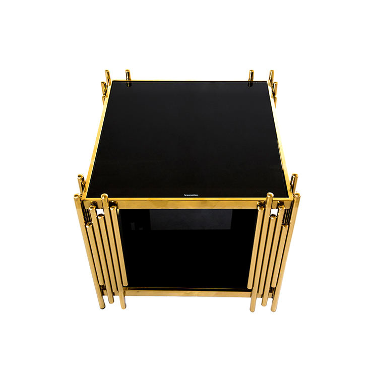 Wholesale Square End Table Fancy Glass Marble Gold Side Coffee Table