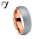 Dome Rose Gold Tungsten Ring, Tungsten Men Wedding Band, Brushed Rose Gold Ring