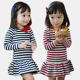 New Hot Selling Girls Fashion Design Red And Blue Stripe Cotton Dress