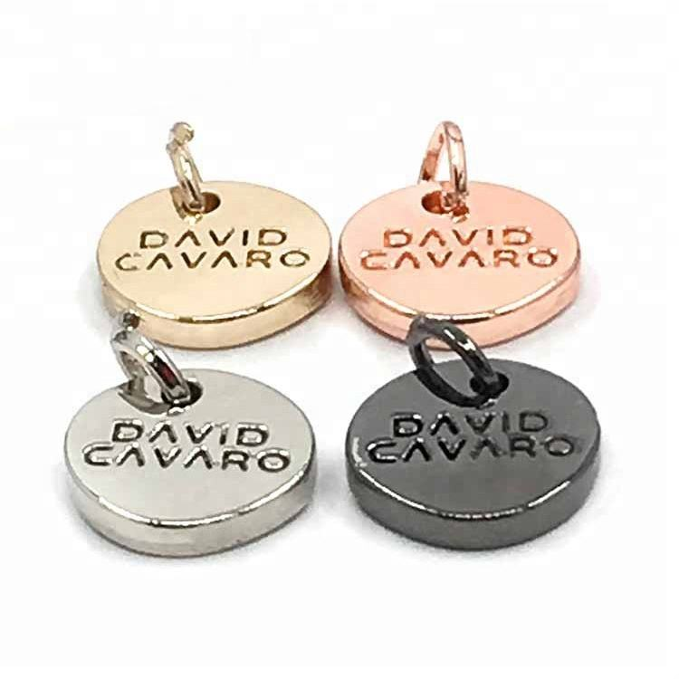 Personalized Zinc Alloy Custom Made Charm Stamped Metal Logo Jewelry Charms