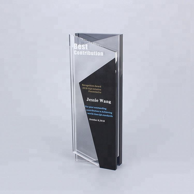 New design black brushed aluminum print cheap crystal world cup trophy