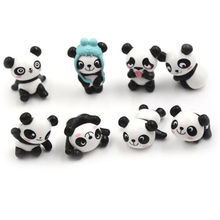 8pcs Hot Super Cute Panda Action Figures Cartoon To  girls Anime Christmas party supply for Children Decor panda  cake topper