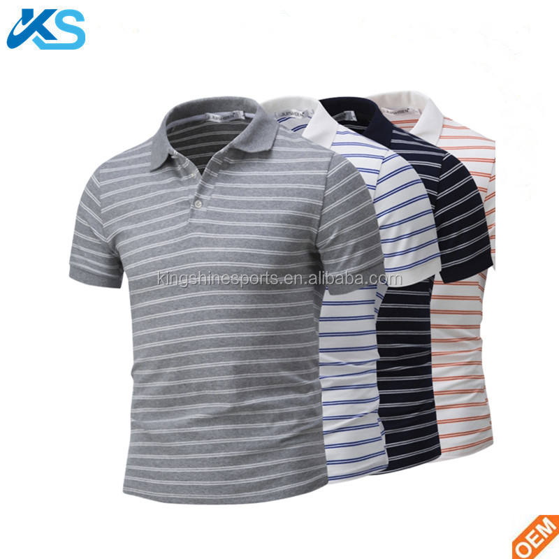 Custom Cheap 65%Cotton 35%Polyester Blend Jersey Short Sleeve Stripe Yarn Dyed Casual Men Polo Shirt