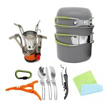 2019 hot product Outdoor 1-2 person portable camping and hiking backpacking cookware set outdoor survival kit