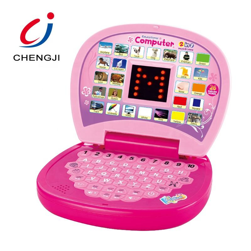Education kids laptop LED screen English Chinese learning machine computer toy