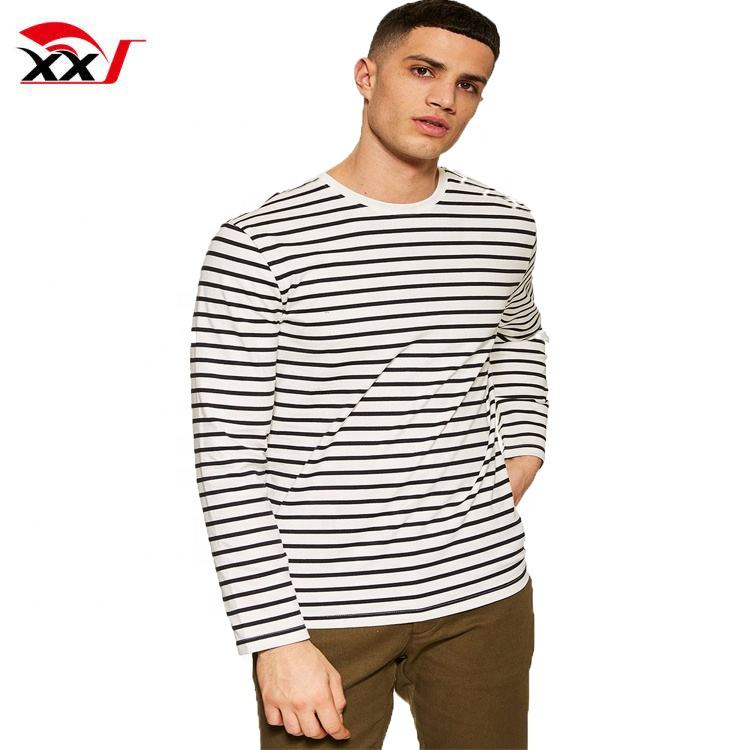 thailand clothing manufacturers oversized t shirt 180 gsm cheap men stripe long sleeve cotton t-shirts