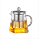 Heat Resistant Borosilicate Square Shape Pyrex Glass Teapot With Stainless Steel Infuser
