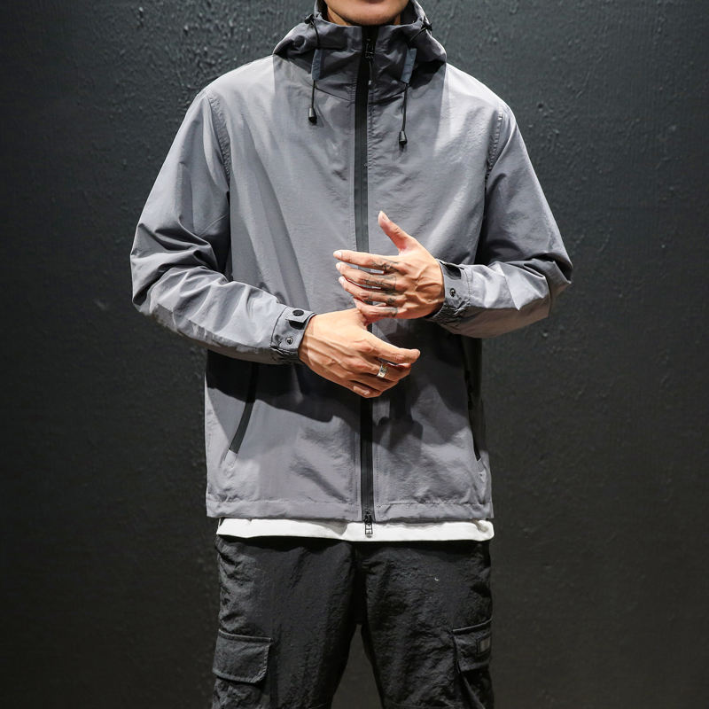 Full Neck All-Weather Plain Windbreaker Unisex Rain Jacket