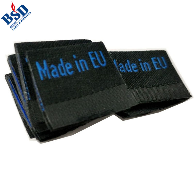 Wholesale Various Fold Type Black Main Woven Label Tag for Clothing and T-shirts