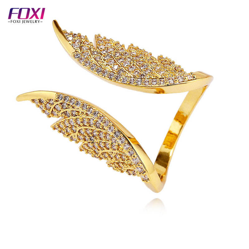micro paved zirconia angel wings rings jewelry for women