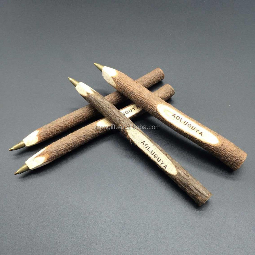 Customized novelty recycled Carved wooden twig ballpoint pen with printed logo