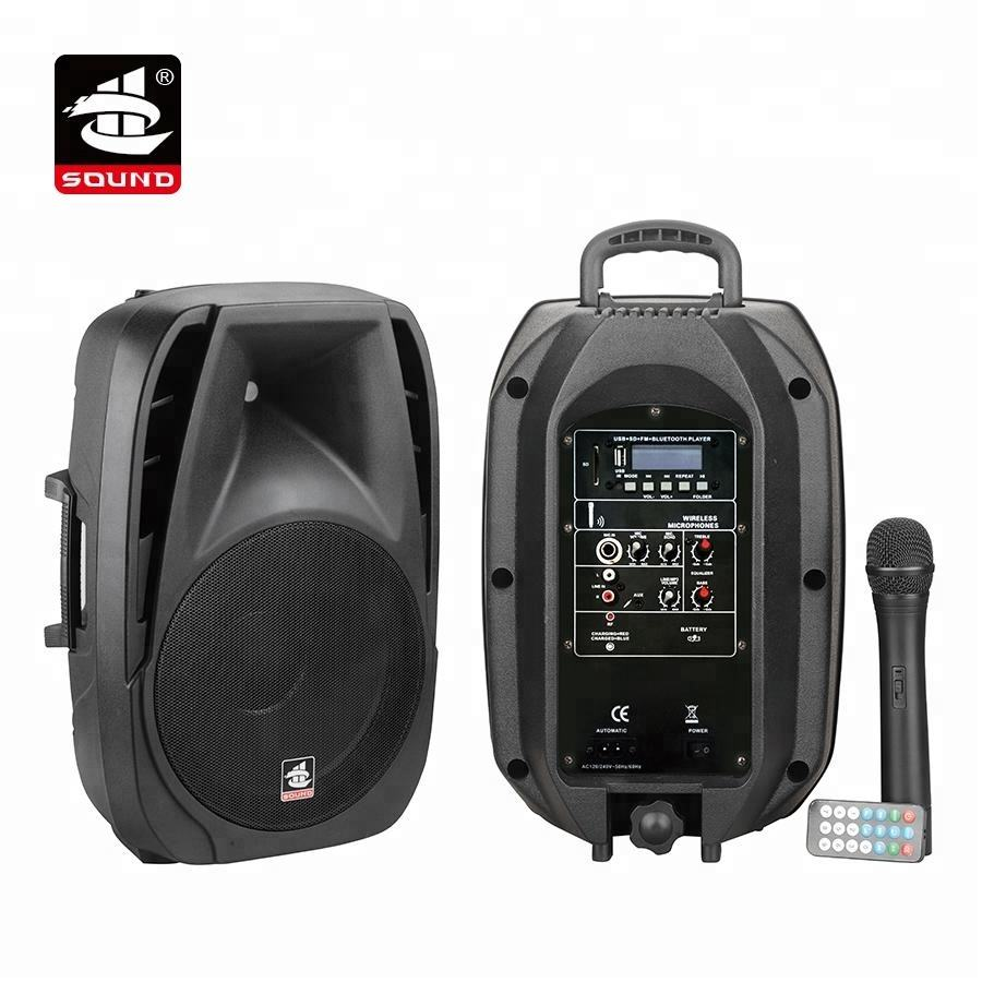 PS-1408BT-IWB 8 inches Portable 40 W Wireless Trolley Rechargeable Pa Speaker with FM Radio and Mic