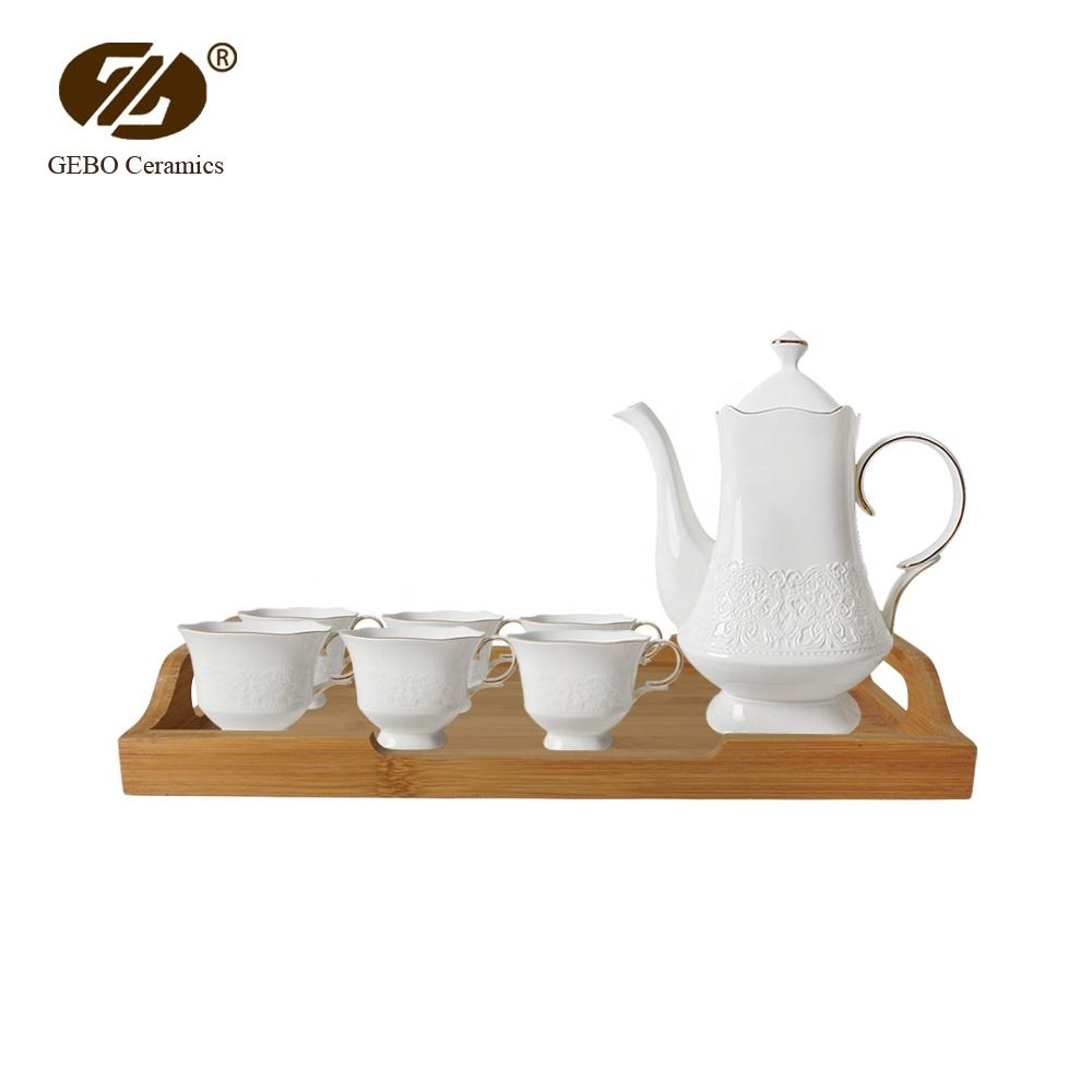 United Arab Emirates Ceramic Coffee Tea Cups Sets Bamboo Tray High End Porcelain Tea Set with Wood Stand