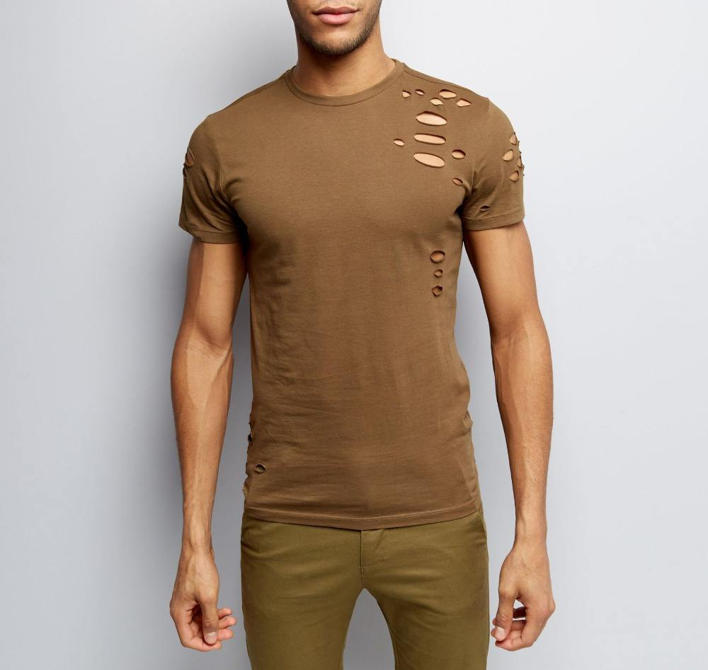 Wholesale Shirt for Men Khaki Ripped Short Sleeve T-Shirt