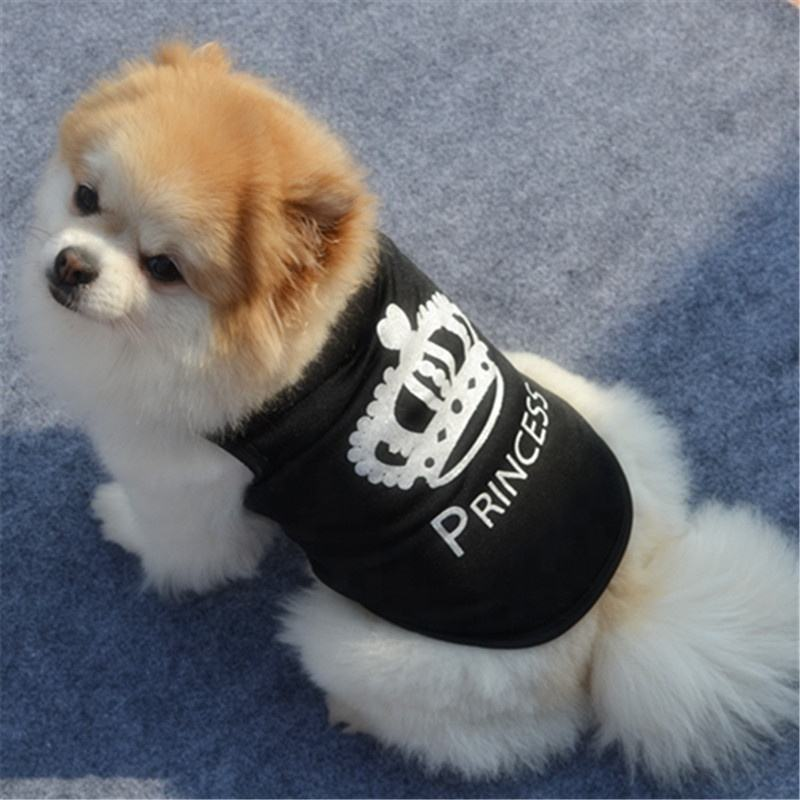 Trussu 2019 Cute Printed Summer Black Vest T Shirt Dog Clothes