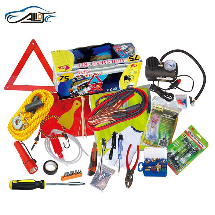 cheap 7PCS Auto emergency kits for promotion Warning triangle / Safety vest / Boster cable / Towing