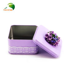 fancy mini wedding tin gift box flower tin box