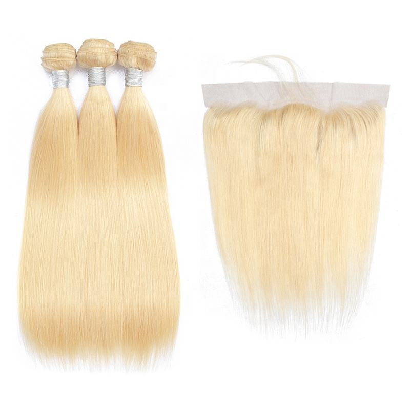 Wholesale Brazilian Virgin Hair Weave 613 Blond Straight Human Hair Extensions Bundles With Lace Frontal